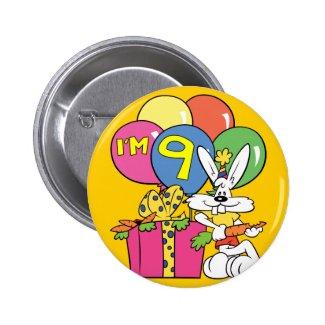 9th Birthday Rabbit 2 Inch Round Button