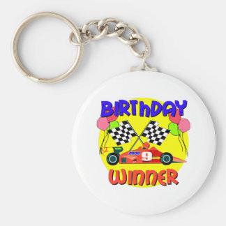 9th Birthday Race Car Birthday Basic Round Button Keychain