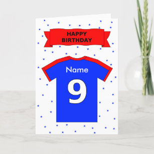 9th Birthday Red Blue T Shirt Add A Name Card