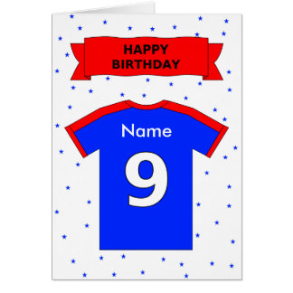 9th birthday red blue t-shirt add a name greeting cards