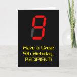 "[ Thumbnail: 9th Birthday: Red Digital Clock Style ""9"" + Name Card ]"