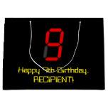 "[ Thumbnail: 9th Birthday: Red Digital Clock Style ""9"" + Name Gift Bag ]"