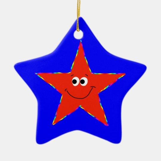 9th Birthday Red Smiley Star Ornament
