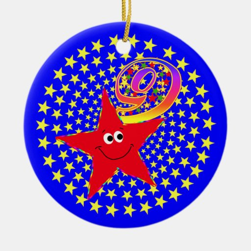 9th Birthday Red Smiley Star Round Ornament
