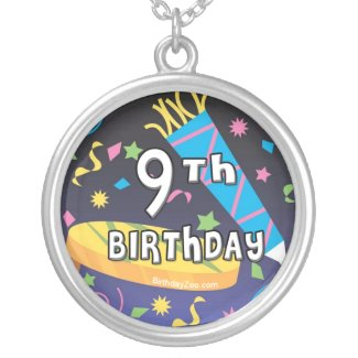 9th Birthday Round Pendant Necklace