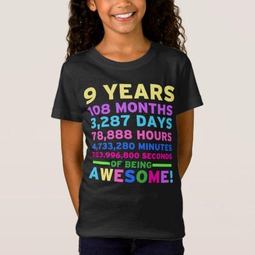 9th Birthday Shirt Boy Girl Nine Years of Awesome