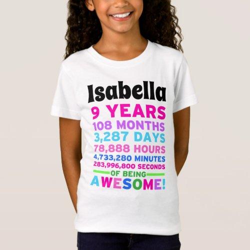 9th Birthday Shirt Girl Nine Years of Awesome