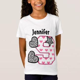 9th Birthday Zebra Hearts Nine Year Old 10H T-Shirt