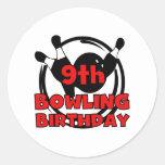 9th Bowling Birthday Classic Round Sticker