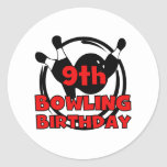 9th Bowling Birthday Round Stickers