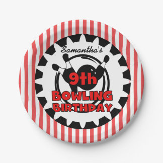9th Bowling Sports Birthday Paper Plates
