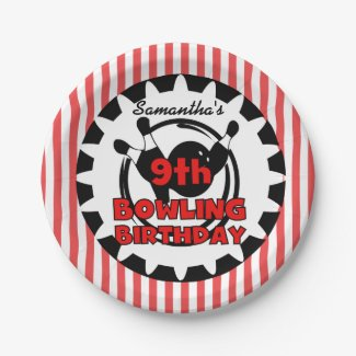 9th Bowling Sports Birthday Paper Plates 7 Inch Paper Plate