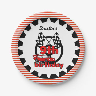 9th Car Racing Birthday Paper Plates