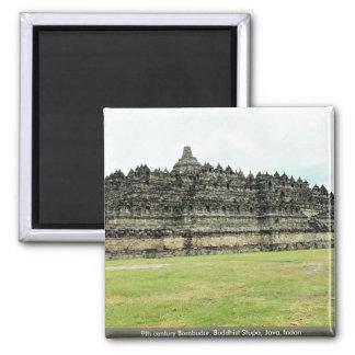 9th century Borobudur, Buddhist Stupa, Java, Indon 2 Inch Square Magnet