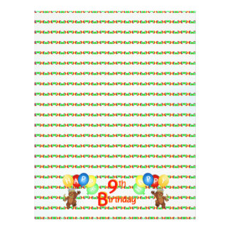 "9th Happy Birthday Bear Scrapbook Paper 5 8.5"" X 11"" Flyer"