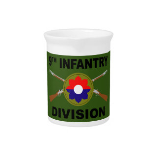 9th Infantry Division - Crossed Rifles - With Text Beverage Pitcher