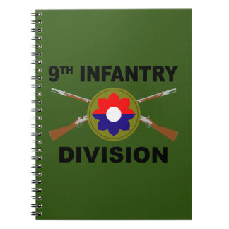 9th Infantry Division - Crossed Rifles - With Text Spiral Notebook