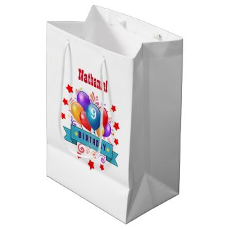 9th KIDS Birthday Festive Colorful Balloons B10FZ Medium Gift Bag
