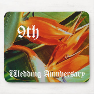 9th wedding anniversary - Birds of paradise Mouse Pad
