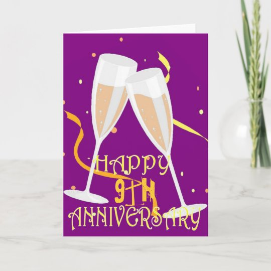Ninth Wedding Anniversary Gift: 9th Wedding Anniversary Champagne Celebration Card