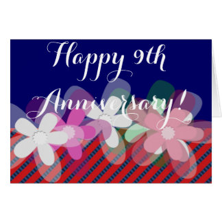 9th Wedding Anniversary Flowers Greeting Card 9th Wedding Anniversary