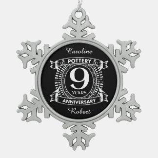 9TH wedding anniversary pottery Snowflake Pewter Christmas Ornament