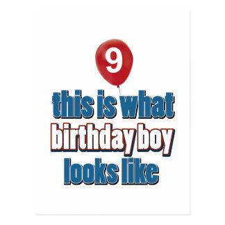 9th year old birthday designs postcards