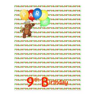 "9thBirthday Party Royal Bear Scrapbook  Paper 3 8.5"" X 11"" Flyer"
