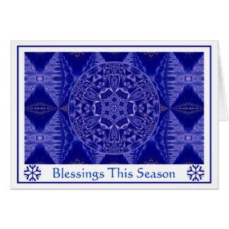 A001 Snowflake Mandala.Blue.Customizable.Card 3