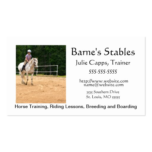 A003 BIZ - Horse Stables and Training Business Card