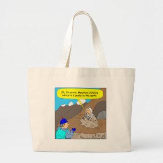 A006 guru mountain climbing advice cartoon large tote bag