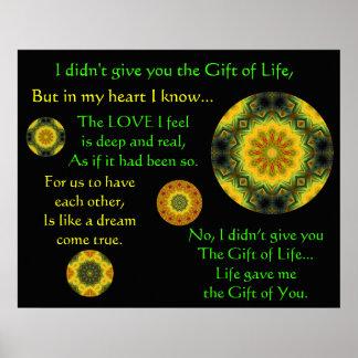 A007 regalo de la vida - impresión - versión 4 póster