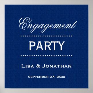 A01 azul del fiesta de compromiso y blanco clásico póster