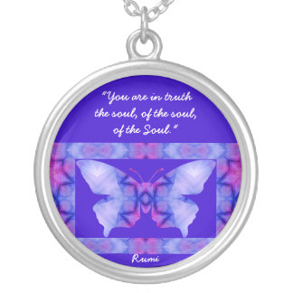 A01. Butterfly - With Quote - Necklace.3 Round Pendant Necklace