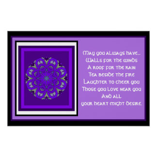 A05 Celtic Kaleidoscopic Mandala Irish Blessing 10 Poster