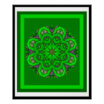 A05 Green Celtic Knot Kaleidoscopic Irish Blessing Posters