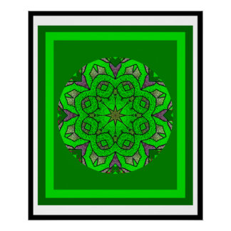 A05 Green Celtic Knot Kaleidoscopic Irish Blessing Poster