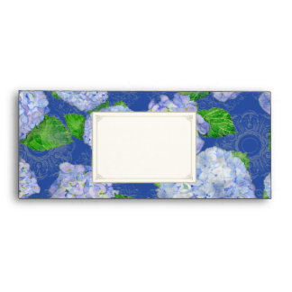 A10 Matching Envelopes Blue Hydrangea Lace Floral