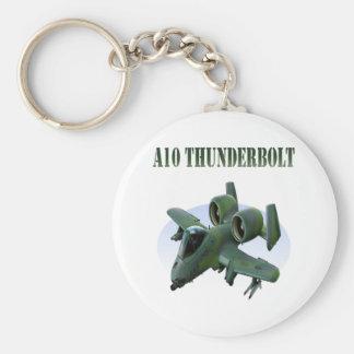 A10 Thunderbolt Green Plane Basic Round Button Keychain