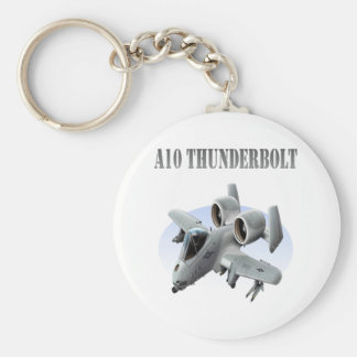 A10 Thunderbolt Grey Plane Basic Round Button Keychain