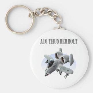 A10 Thunderbolt Silver Plane Basic Round Button Keychain