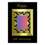 A1 50th Anniversary Gold Black Damask Photo Cards