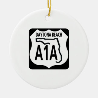 A1A Daytona Beach Double-Sided Ceramic Round Christmas Ornament