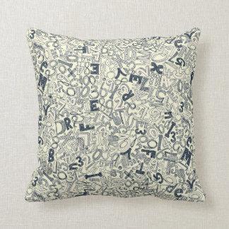 A1B2C3 indigo ivory Throw Pillow