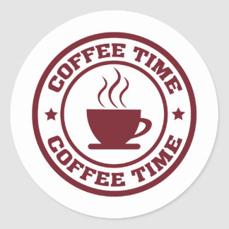 A251 coffee time circle burgundy classic round sticker