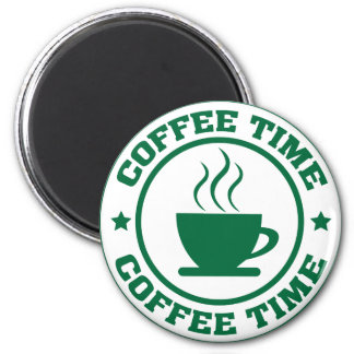 A251 coffee time circle dark green 2 inch round magnet
