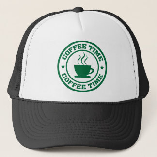A251 coffee time circle dark green trucker hat