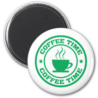 A251 coffee time circle green 2 inch round magnet