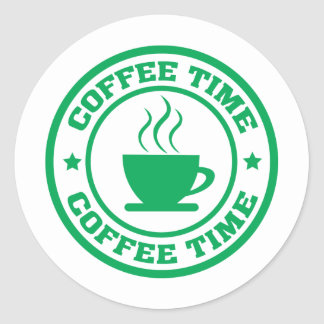 A251 coffee time circle green classic round sticker