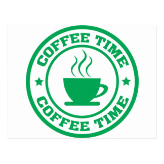 A251 coffee time circle green postcard